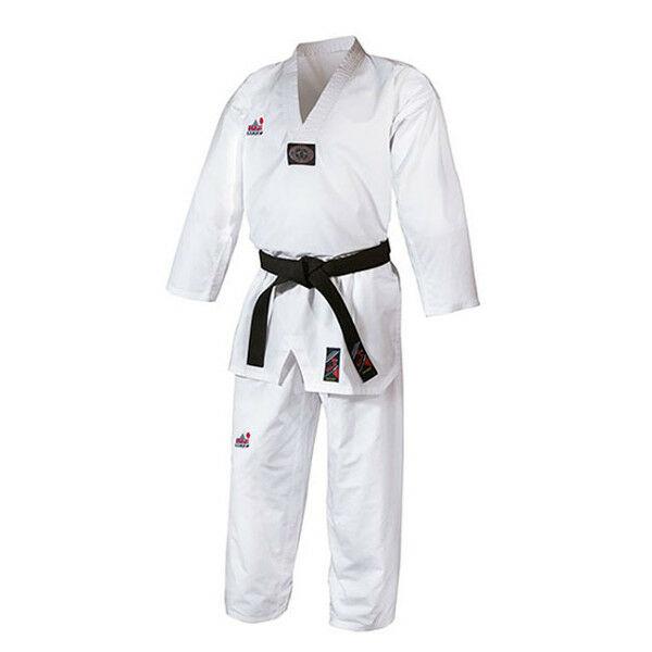 WT taekwondo ruha fehér gallérral, gyémánt mintás